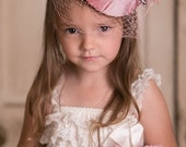 Pillbox Hat, Feather Fascinator, Pink, Blush, Veil, Silk Great for Weddings, Tea Parties and Dressup Dates