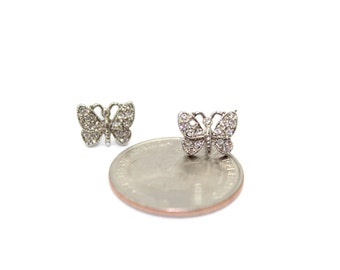 Small Butterfly Earrings with Swarovski Crystals