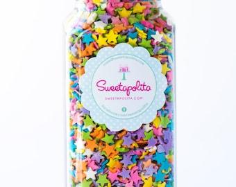 8oz (1 cup) Pastel Star Quin Sprinkles, Gluten-Free, Star Quins, Star Sprinkles, Pastel Sprinkles