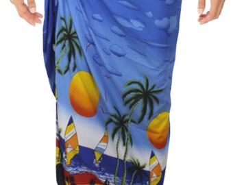 La Leela Likre Coconut Tree Printed Beach Swim Wrap Men's Sarong Dark Blue - 123278