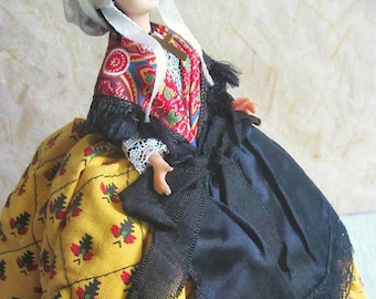 French Provence costume doll, folk doll, vintage, MS depose, french riviera, vintagefr