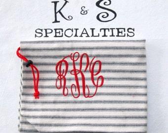 Classy Laundry Bag/Black &  White Stripes/Circle Monogram Personalized /Gift:Graduation, Travel Bridal Party, Summer Camp, Dorm Life, Unique