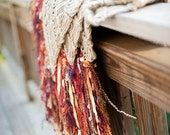 Rustic Fall Decor Throw Blanket. Fringe Home Accent in Rust, Burnt Orange, Gold, Brown, Black, Burgundy, Blue