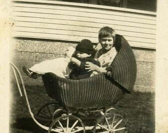 "Vintage Photo ""Carriage for Two"" Buggy Snapshot Photo Old Antique Photo Black & White Photograph Found Photo Paper Ephemera Vernacular - 08"