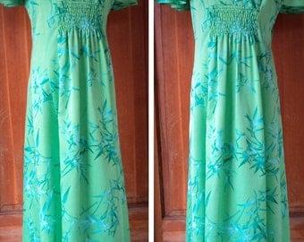Vintage 70s Malihini Hawaiian Maxi Dress Flutter Sleeve Long Dress Hippie Hawaii Tropical Leaves Bamboo Polynesian 36 Bust