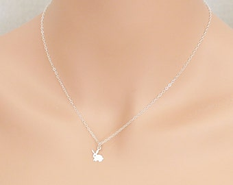 Bunny Necklace Sterling Silver Gift Rabbit Hare Cutout Bunny Rabbit
