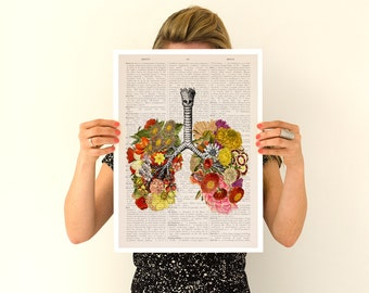 Flowery lungs Poster, ,anatomical art, Stop smoking art, Wall art, flower art,, Flower poster SKA062PA3