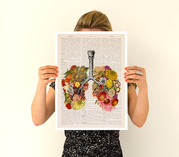 Flowery lungs Poster, ,anatomical art, Stop smoking art, Wall art, flower art,, Flower poster wall art, SKA062PA3
