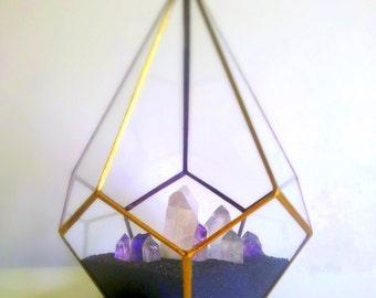 Terrarium , Crystal Garden , Gold Wedding , Stained Glass , Glass Geometric Terrarium , Quartz , Amethyst