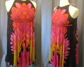 Vintage 1970s La Mendola Silk Sheath Dress with Chiffon Overlay In Bold Colors / 70s Sleeveless Designer Dress Made in Roma, Italy