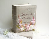 Rustic Wedding Photo album, Personalized Photo album, Embroidered Name & date, Linen photo album 200 photos 4 x 6, Photo albums with flowers