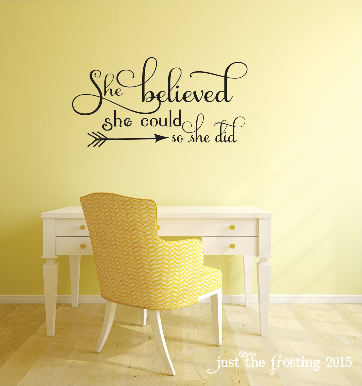 She believed she could quote bedroom wall decal office decor - Things to put on a wall ...