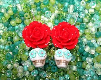 White & Red ~ Sugar Skull Earrings ~ Dia de Los Muertos ~ Day of the Dead Earrings ~ Skull Earrings ~ Calaveras ~ Catrina ~ Tucson AZ