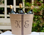 20% OFF! Double Monogram Burlap Wine Bucket - personalized rustic wine service for your outdoor wedding reception