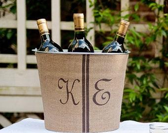 20% OFF! Double Monogram Burlap Wine Bucket - personalized rustic wine service for your outdoor wedding reception