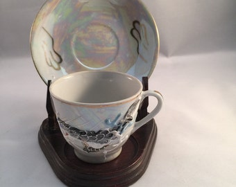 Vintage Lusterware Dragon Demi Tasse Tea Cup Lithopane Geisha Image Japan