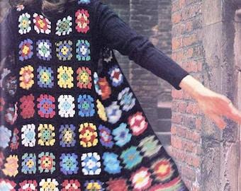 Granny Square Boho Waistcoat VINTAGE CROCHET PATTERN, 1960s Retro/Boho/Folk/Hippy Long Jacket-Coat, Instant Pdf from GrannyTakesATrip  0273