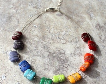 Colour Wheel Necklace with Fine Silver Wire Details