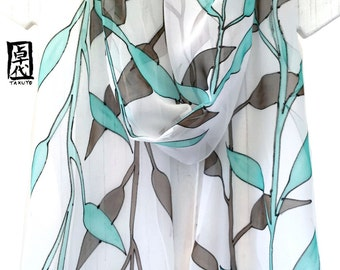 Hand Painted Silk Scarf, Gift for her, Chiffon Scarf, Japanese Woodcut Leaves Scarf, Oblong Silk, Green and Brown Scarf, Takuyo, 11x90 inch