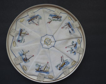Embroidered Boats Ships Nautical Cocktail Napkins by WJ Sloane - Set of 8 Fine Antique Linens Coasters Unused Original Box Collectible  RARE