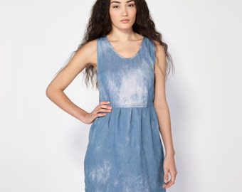 Washed Denim Pleated Tank Dress