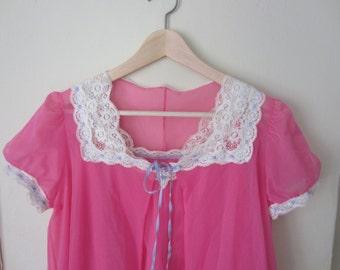 Vintage Vanity Fair Nightgown Set / Hot Pink 2 Piece Sheer Nighty