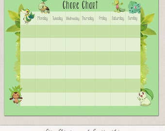 Blank Grass Pokemon Behavior or Chore Chart * Visual Schedule * Instant Download