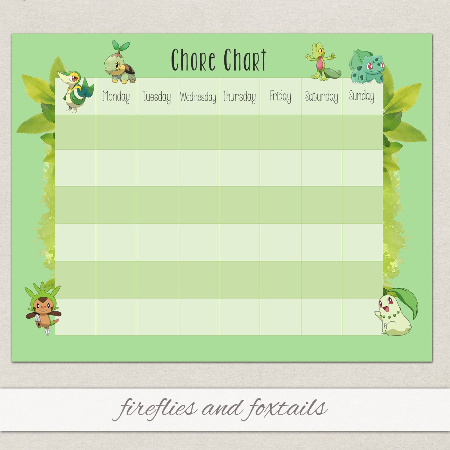 Blank Grass Pokemon Behavior or Chore Chart Visual Schedule