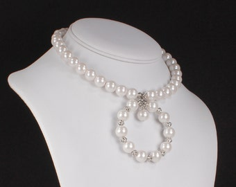 Pearl Necklace Large White Pearl Choker Statement Necklace