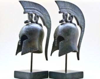 Ancient Greek Helmet with Spiraling Serpent Crest, Bronze Metal Sculpture, Ancient Greece Military Helmet, Collectible Art, Museum Replica