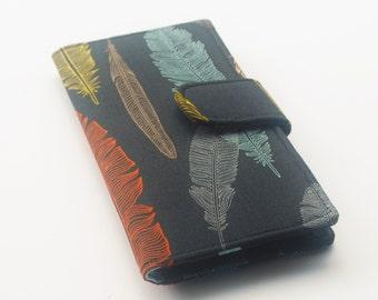 Handmade Wallet, Womens Clutch Wallet, Vegan Wallet, Feathers, Black