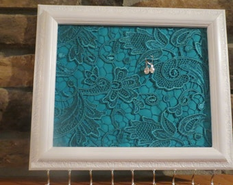 SALE - Wall Hanging Jewelry Organizer Jewelry Display Jewelry StoragePainted Picture Frame with Dark Teal Lace