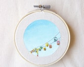 Santa Cruz Beach Gliders, embroidery art, small beach artwork, wall art, minimalism, fairgrounds, fair, rides