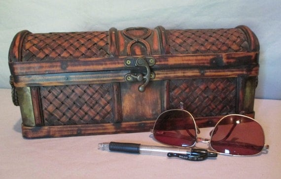 Decorative Bamboo Storage Box : Bamboo and brass chest with handles small vintage basket