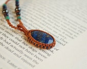 Lapis Lazuli Macrame Necklace  - Stone for knowledge and truth