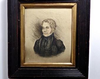 19thC fine art Portrait Miniature, antique English miniature Portrait of a Gentlemen, Regency Period Portrait Painting, Antique Mourning Po