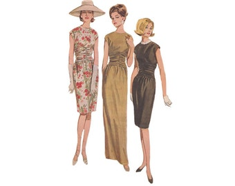 1960s Evening Sheath Dress Bust 36 Butterick 2970 Full Length or Cocktail Dress with Shirred Midriff Ankle or Street Length Size 16