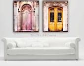 Paris Doors Canvas Wall Art, Paris Photography Set, Paris Old Doors Decor, Romantic, Canvas Art Prints