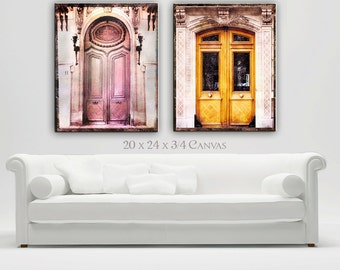 Paris Doors Canvas Wall Art, Paris Photography Set, Paris Old Doors Decor, Romantic, Canvas Art Prints