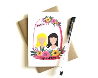 Lesbian Wedding Card Customized 'Mrs. & Mrs. Congratulations' Bride, Lesbian Wedding, Gay Wedding, Wedding Cards, Greeting Card