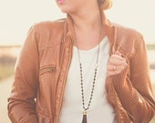 Black Tassel Necklace Leather Long Black and White
