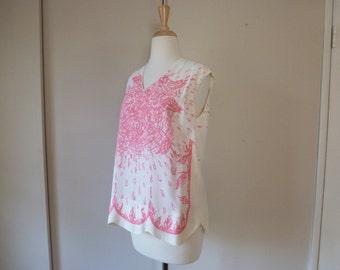 60's Trompe L'oeil Signature Print Blouse Pink White Palm Beach Top M L