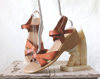 Vintage 70's Italian Leather Wedge Sandals 8