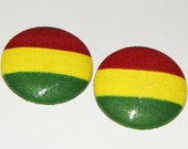 Fabric Covered Button Earrings- Rasta