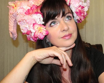 CANDY PINK DEVIL Pink Demon Devil Horns Headdress Hair Adornment ooak