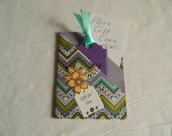 Gift Card Holder Double Pocket in purple and teal