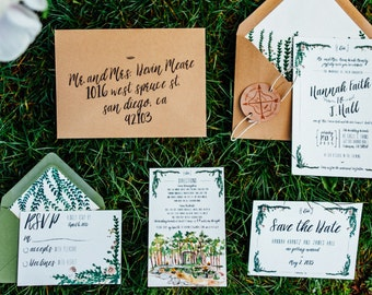 Rustic and Whimsical Watercolor Garden Wedding Invitation