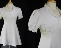 60s 70s Dress, Mini, Go Go, Allegro, White, Metal Zipper, Vintage Wedding