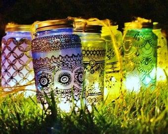 Mason Jar Candle Lantern, Azure Blue Glass with Pewter Detailing