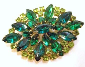 Two Tone Green Rhinestone Vintage Brooch Emerald Green Peridot Light Green Rhinestones Wedding Bridal Brooch Spring Easter DD 729